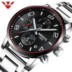 NIBOSI mężczyźni oglądać na co dzień Chronograph zegarek kwarcowy zegarki męskie ze stali nierdzewnej ręcznie świetlny luksusowe wodoodporny zegar Relogio Masculino|Zegarki kwarcowe|   -