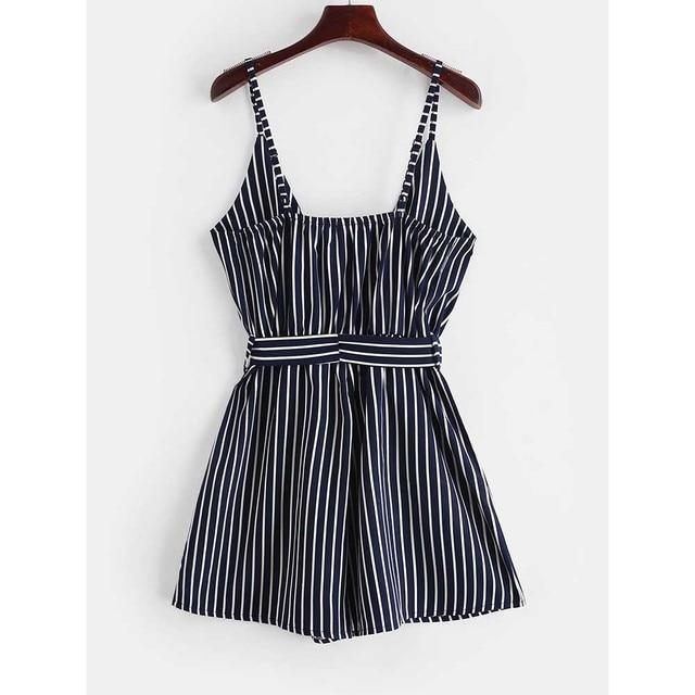 ZAFUL Striped Surplice Cami Romper Casual Brief Regular Striped Female Backless Playsuits Urban Shorts Summer Women Jumpsuits 3