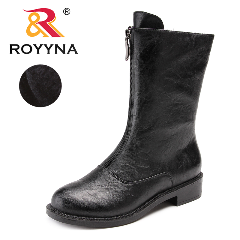 ROYYNA New Arrival Typical Style Women Boots Round Toe Women Winter Shoes Zipper Lady Mid Calf
