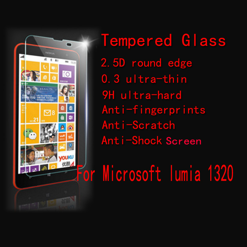 For <font><b>Nokia</b></font> Lumia <font><b>1320</b></font> FENGHEMEI Super Clear Anti-burst screen Tempered Glass Protector 2.5D Edge With Retail Package image
