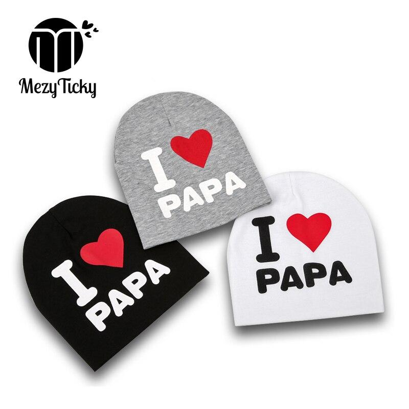 MezyTicky 2pcs/pack baby boys girls I love papa mama hats children infant warm cotton printed beanie toddler newborns kids caps