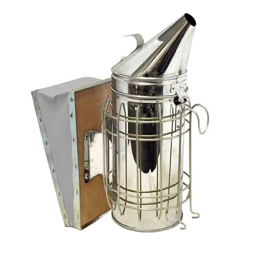 Fumeur d'abeille, fumoir de ruche d'acier inoxydable avec la Protection de bouclier thermique, Kit d'équipement d'apiculture pour l'apiculteur de démarreur