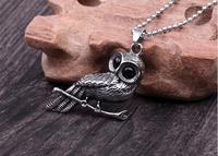 Fashion Men S Birds Black Eye Individual Owl Titanium Steel Men S Necklace Pendant