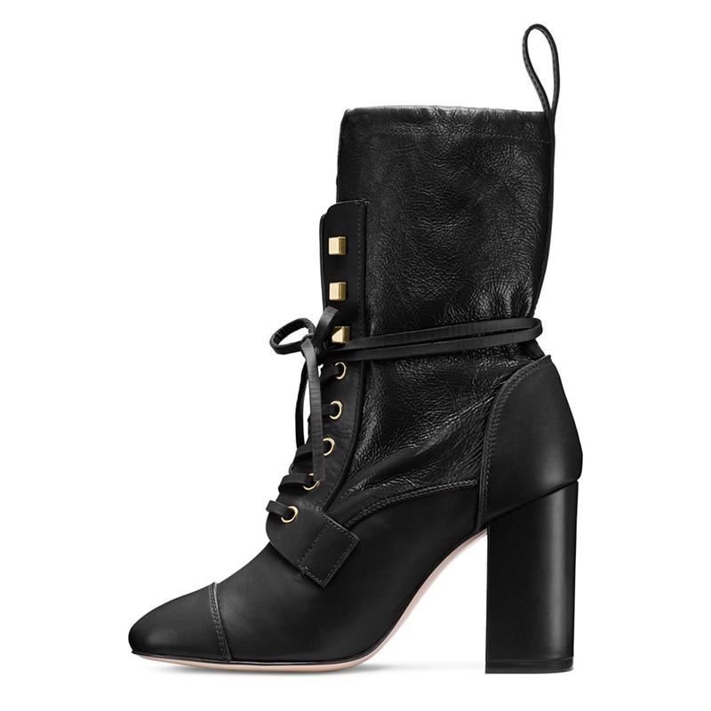 Kreuz Leder Große Matin Nieten Spitz Black Stiefel Concise Schuhe Frauen Winter 2019 Mode Heels Chunky Gebunden Schwarz Größe pXqH1wnx