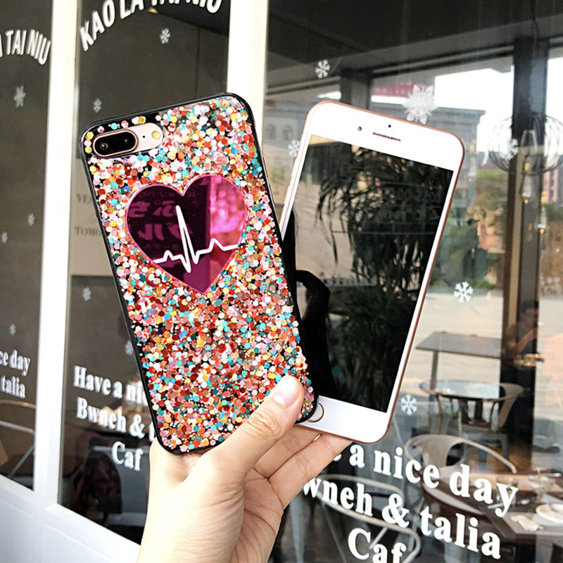 Luxury Colorful Sequins Bling Glitter Phone Case For iPhone 6 6S 7 8 Plus Cute Love Heart Soft Silicone Cover X 8Plus