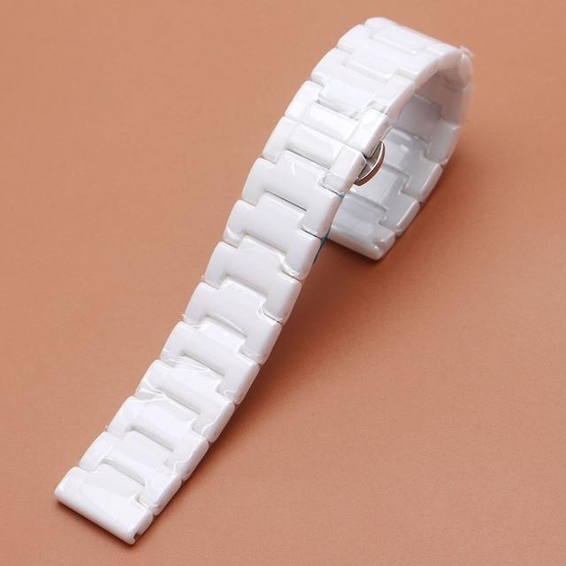 Чистый Полированный Керамический Ремешок Для Часов Белый Высокое Качество Часы аксессуары fit Марка Роскошные Прямой конец 14 мм 16 мм 18 мм