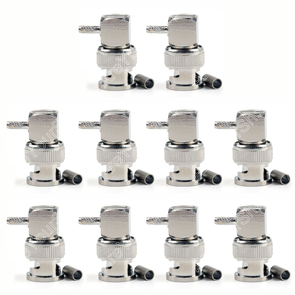 Areyourshop Sale 10Pc Connector BNC Male Plug 90 Degree Crimp RG174 RG316 LMR100 Cable Right Angle bnc м клемма каркам