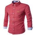 MEBOSYA 2016 Camisa Azul Xadrez Vermelho Camisas dos homens Retro Clássico Moda Slim Cabido Camisas Xadrez Homens Chemise Homme Manche Courte