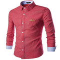 MEBOSYA 2016 Plaid Red Blue Shirt Retro Classic Men's Shirts Fashion Slim Fitted Plaid Shirts Men Chemise Homme Manche Courte