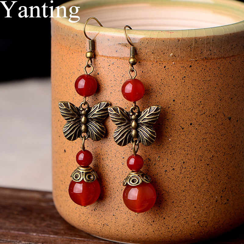 Yanting Natural Red Stone Earrings For Women Classic Ancient Copper Alloy Butterfly Earring Women Brincos Ethnic Gift 080