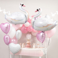 1pc White Swan Balloons Happy Birthday Party Decorations Kids Toys Baby Shower Air Globos Cumpleanos Inflate Ball