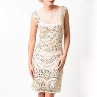 Cổ điển gatsby dress phụ nữ hot smocked sequin overlay lưới nhìn xuyên qua trở lại Đèn Flash Sang Trọng Cao Quý Chính Thức Dresses Đen Kem S-XL