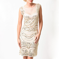 Vintage Gatsby Dress Women Hot Smocked Sequin Overlay Mesh See Through Back Luxury Flash Noble Formal