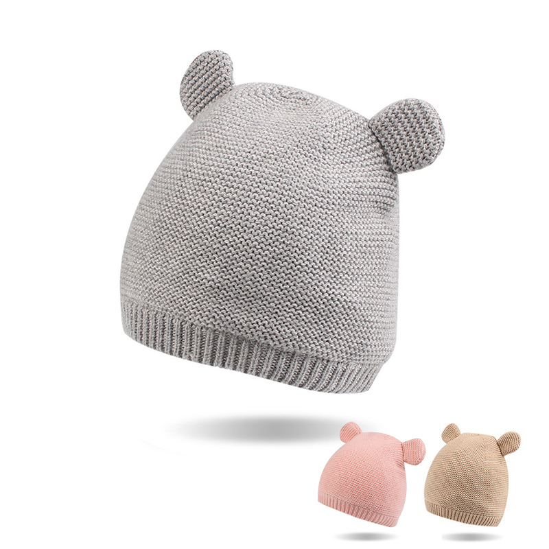 Bear Ears Newborn Baby Hat Knit Cotton Soft Beanie For Baby Girls Autumn Winter Cute Toddler Girls Hat Beanie Baby Boys Clothing newborn cap cotton beanie rhinestone bow hat soft knit striped cap baby supplies baby photo prop