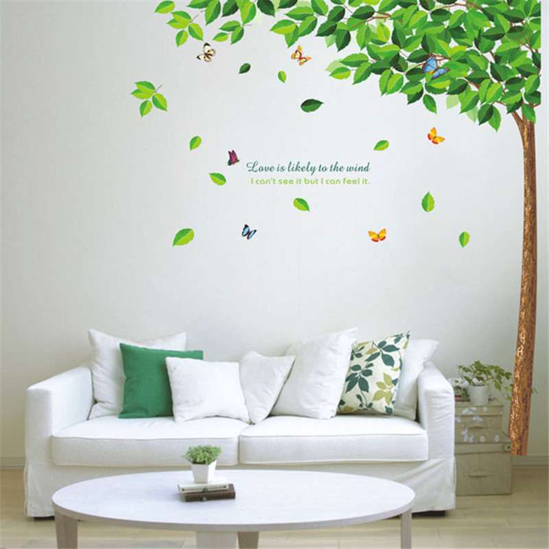 lovely living room wall decals | Large Size Green Tree Love Vinyl Mural Decal Wall Sticker ...