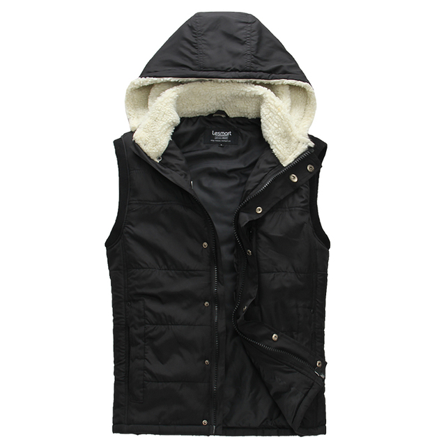 Lesmart Men's Solid Business Casual Fashion Fall Winter Sleeveless Outerwear Cover Button Easy-carry Cotton Padded Warm Vests