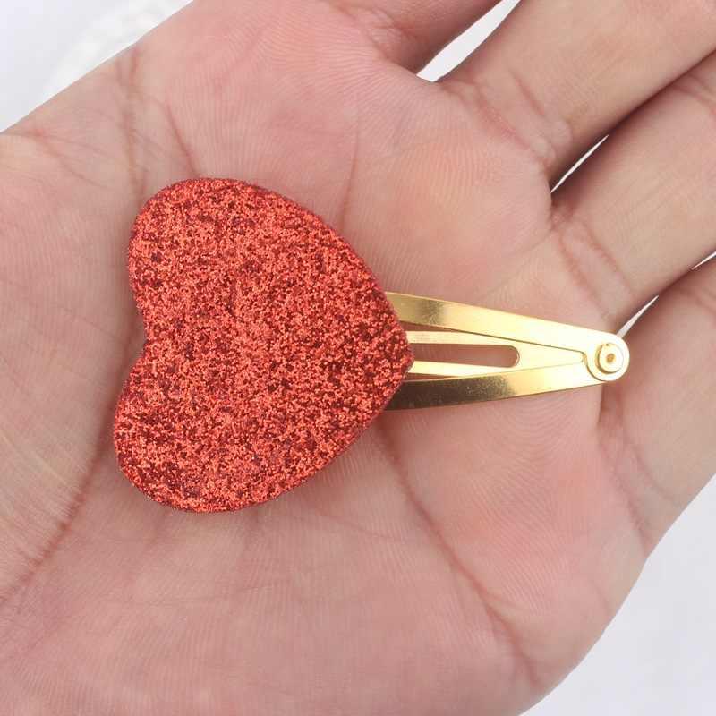 2019 paillettes materiale dei capelli delle ragazze clip 6 di colore (di amore del cuore di formato 34 millimetri + 34 millimetri) oro barrettes accessori per capelli per bambini Forcelle 1 pcs