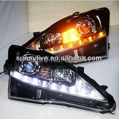 для Lexus is250 по светодиодная головка лампы с объективом проектора 2006-2010 серебро отражатель
