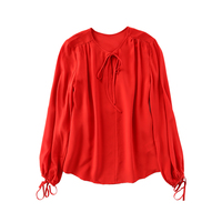 Women S Lattern Sleeve Tie At Collar Red Silk Blouse Top 2017 Summer