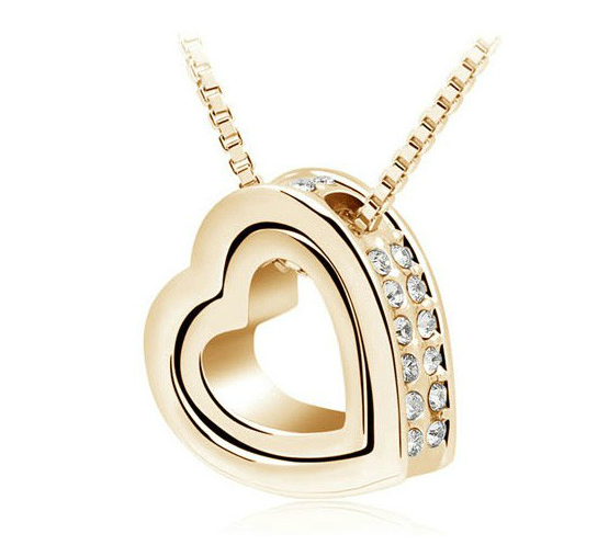 quality double Heart Pendant Sweater chain Necklace Austrian crystal AAAA+ rhinestone charms women fashion jewelry free shipping
