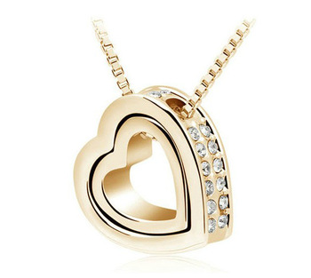 free shipping quality Austrian crystal AAAA+ rhinestone double Heart Pendant Sweater chain Necklace charm women fashion jewelry