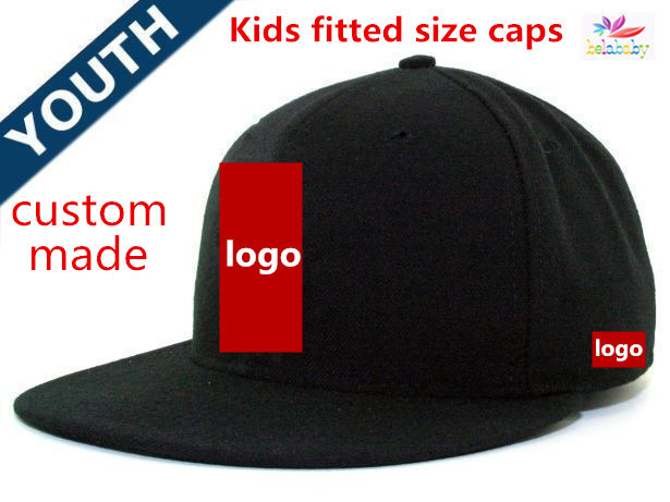 b83686bf Wholesale 100pcs/lot customize cap baseball hip hop full closed fitted hat  kids size flat brim top quality custom logo Mix Size