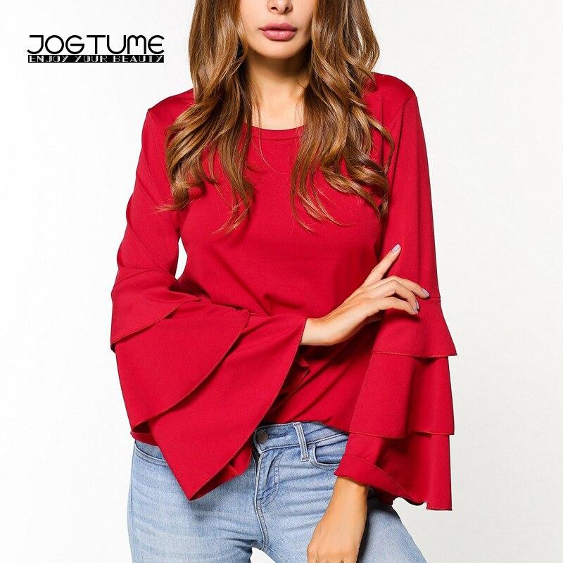 JOGTUME Chiffon Blouse Shirts 2017 Fashion Women Ruffles Shirt Long Flare Sleeve Ladies Elegant Casual Tops Red Black White Navy