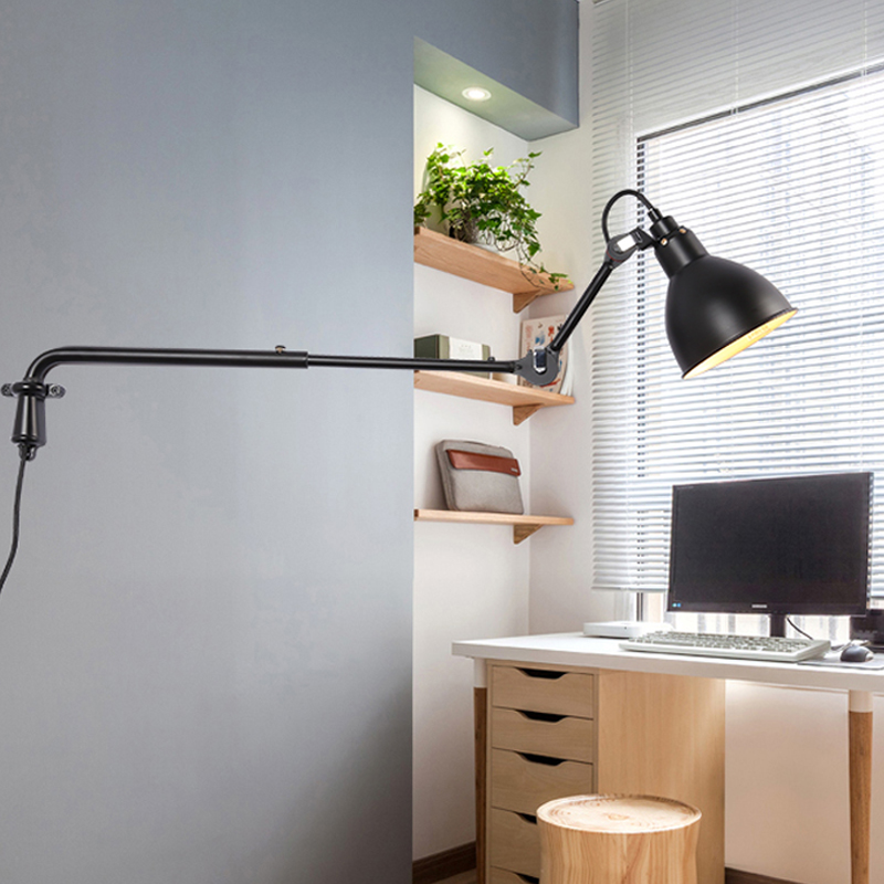 Modern Adjustable Wall Lamp Industrial Long Swing Arm Light Sconce Nordic E27 Lights For Bathroom Bedroom Bedside