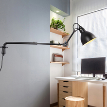 Modern Adjustable Wall Lamp Industrial Long Swing Arm Modern Wall Light Sconce Nordic E27 Lights For Bathroom Bedroom Bedside retro bronze single swing arm wall lamp for bedroom bedside adjustable wall mount swing arm lamp