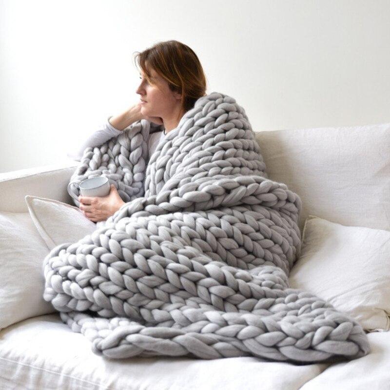 1 unid Handmade Chunky punto hilo grueso lana Merino voluminosos manta invierno cálido sofá cama decoración del hogar lanza mantas