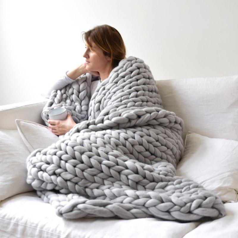 1 unid hecho a mano, manta de punto grueso hilado Merino lana manta de punto de invierno cálido sofá cama casa decoración de Lanza mantas