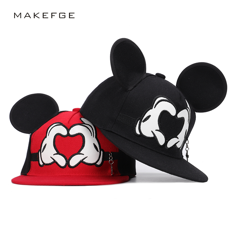 Cute Mickey Hip Hop Hat Children Hat Cartoon Ear Size Adjustable 2019 Spring Summer New Boys Girls Universal Street Dress Wide Selection; Boy's Accessories Boy's Hats