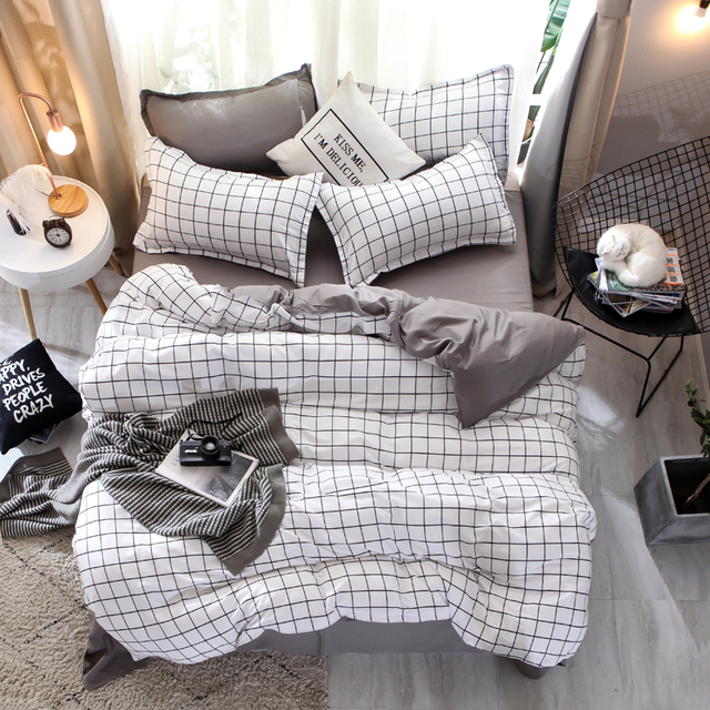 BEST.WENSD Printed plaid duvet cover set pillowcases pure gray sheet bedclothes double bed Home textiles comforter bedding sets