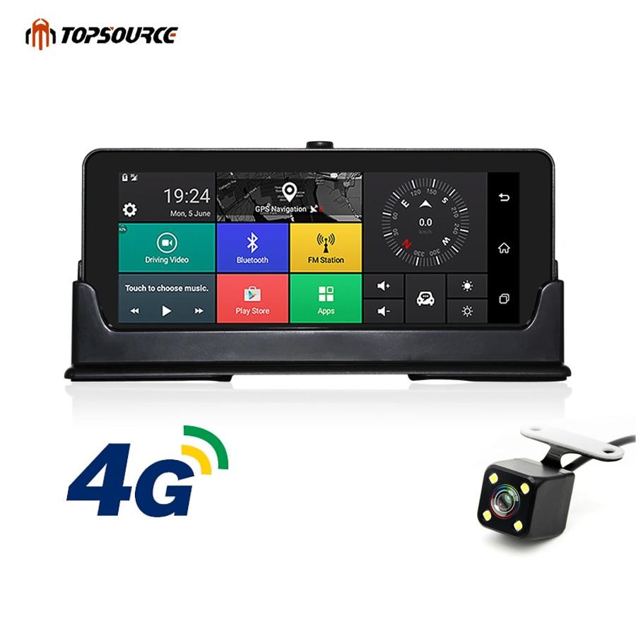 TOPSOURCE 4g di Navigazione GPS Per Auto 6.86 pollice Android 5.1 Bluetooth ROM 16 gb di RAM 1 gb HD 1080 p auto DVR Dual Lens Macchina Fotografica Navigator