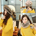 Winter Snood Ring Faux Fur Thick Warm Hat Knit Crochet Magic Collar Echarpe Desigual Scarves Set For Women MF865324