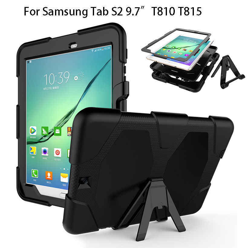 Armor Cover For Samsung Galaxy Tab S2 9.7 Case T815 T810 T813N T819N Kickstand Tablet Shockproof Heavy Duty With Stand Shell