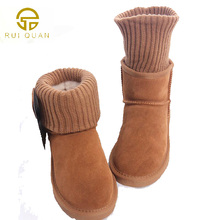 Women's snow Boots Winter Ladies Fashion Flat Bottom Boots round toe Shoes women Knitting wool short cow suede Brand Boots