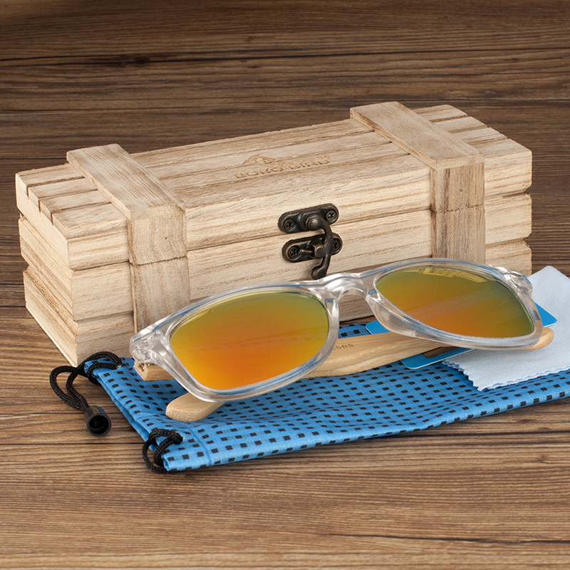 Clear Color Polarized Wood Bamboo Sunglasses For Women. 29