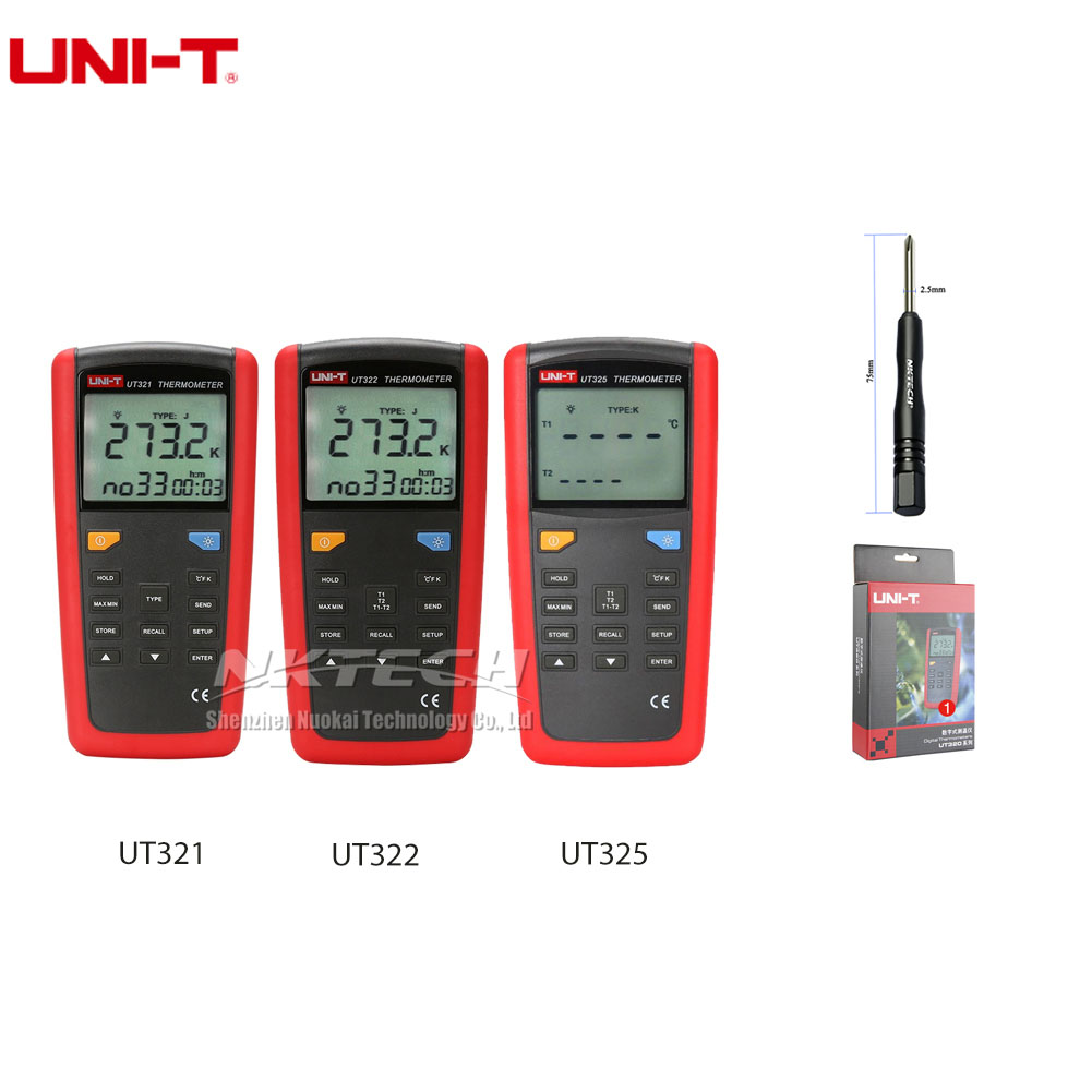 UNI-T Pyrometer Contact Type Thermometer UT325 UT322 UT321 -200~1375C Industrial Temperature 2CH Data Logging Test K/J/T/E/R/S/N contact s 100