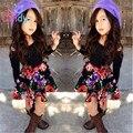 Ropa de Niñas Ropa de moda set Niños prendas de abrigo chaleco pantalones 3-piece set Chicas Juegos del Algodón de Conjuntos 2015 Nuevos Conjuntos Para chica