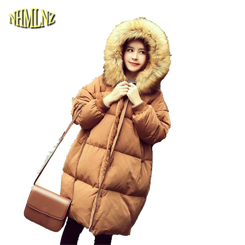 2017 Winter Women Down jacket New Fashion Hooded Fur collar Jacket Leisure Coat Loose Big size Thick Warm Cotton Outerwear G2857 women winter coat leisure big yards hooded fur collar jacket thick warm cotton parkas new style female students overcoat ok238