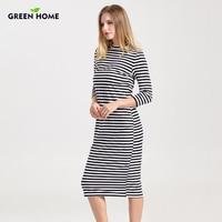 Green Home Winter Breastfeeding Nursing Dress Full Sleeve Striped Thick Maternity Dress For Pregnant Women Breastfeeding