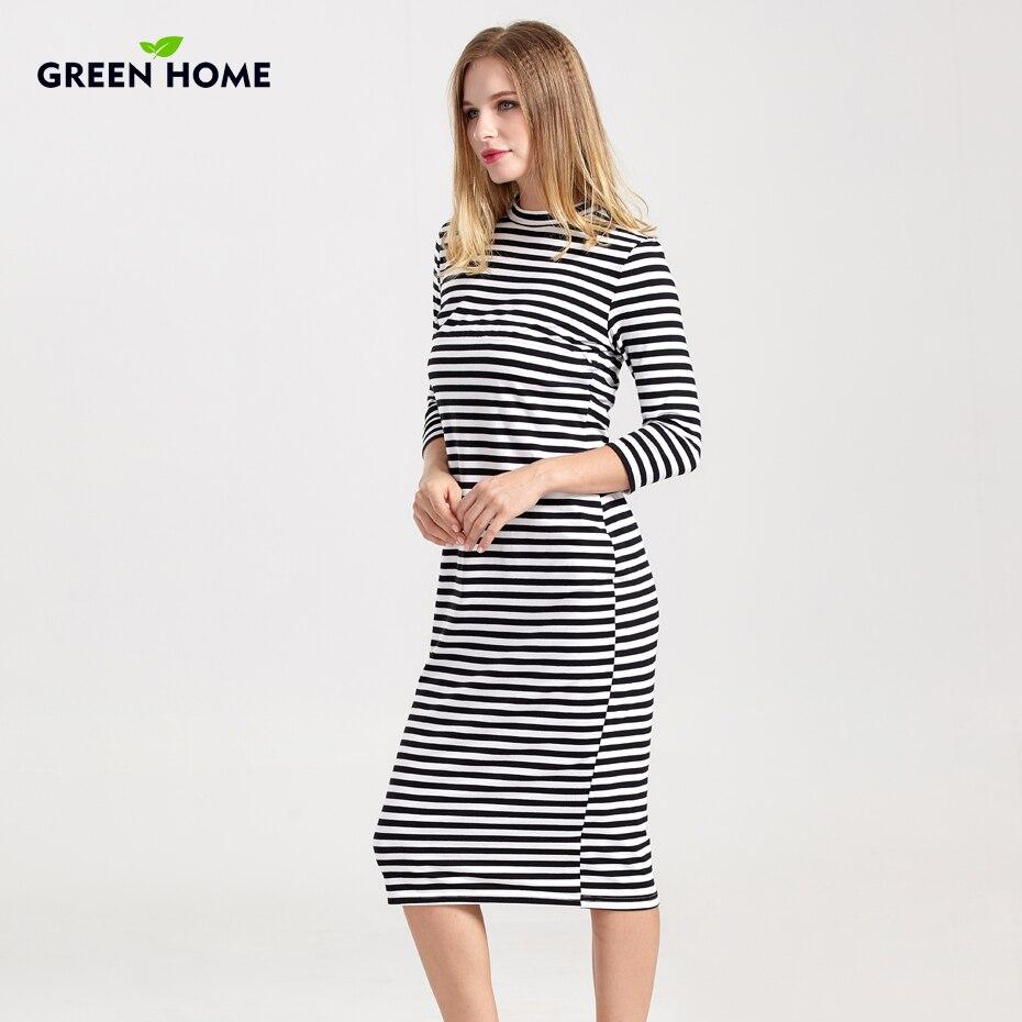 Maison verte Hiver Allaitement Robe Pleine Manches Rayé Épais Robe De Maternité Pour Les Femmes Enceintes Qui Allaitent vêtements