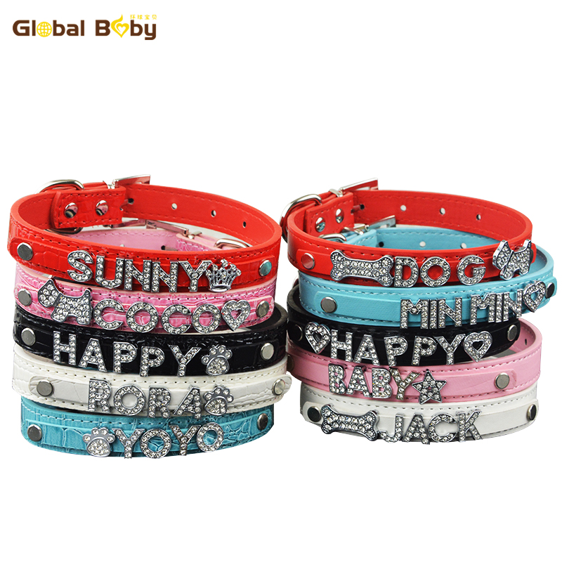 Global Baby Brand Rhinestone Customized Free Name Dog Collars Hund Pet Personlig Krage