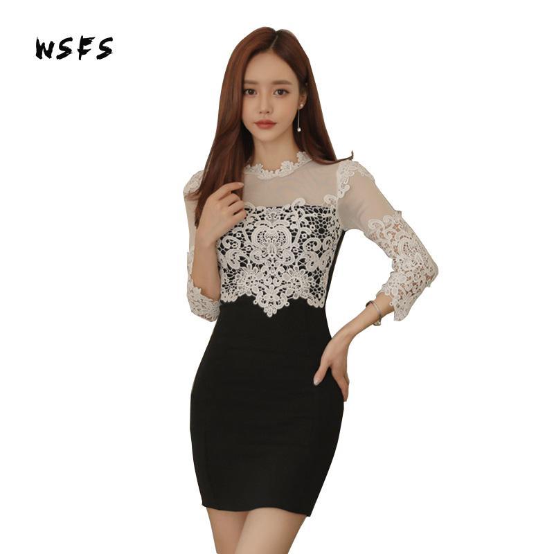 Wsfs Autumn Black Women White Lace Mini Dress Oneck Bandage Slim Sexy Party Bodycon Vintage Dresses 2017 Vestidos De Festa Mujer