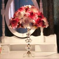 Европейский led Хрустальная настольная лампа Спальня красный свет стол цветок тени настольная лампа Романтический свадьбы зал Современные