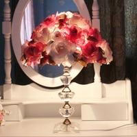 유럽 led 크리스탈 책상 램프 침실 레드 테이블 라이트 꽃 그늘 책상 램프 로맨틱 웨딩 룸 현대 크리스탈 테이블 램프