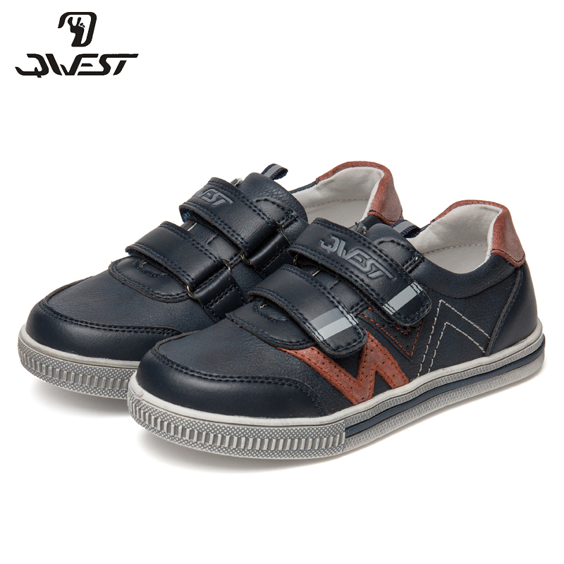 QWEST Brand Leather Insoles Breathable Arch Children Sport Shoes Hook& Loop Size 27-32 Kids Sneaker for Boy 91P-XY-1173 forudesigns graffiti skull table tennis shoes unisex sneakers trainers sports shoes for kids boy breathable sneakers for school