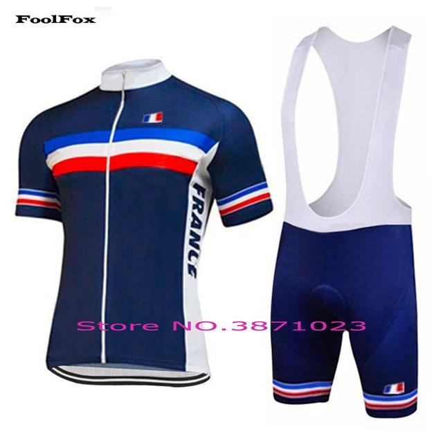 2018 New FRANCE classic cycling jersey summer Anti-sweat Quick Dry short  sleeve set bib shorts FoolFox 6abd3d1b4