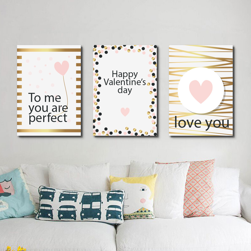 Unframed Multiple Pieces HD Canvas Portraits Pink Love Hearts With Letters Decorative Paintings Living Room Mural